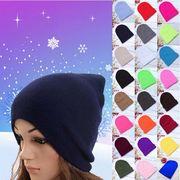 無地ニット帽キャップピンクハット男女兼用スキー帽★20色