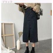 韓国風 ウエストスプリット デニム ストレート スカート 何でも似合う ルース 中長デザ