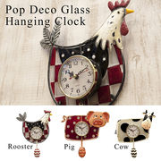 【Pop Deco Glass】ポップデコガラスハンギングクロック【壁掛時計】