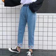 14020691 2018春夏新作ストロベリー刺繍付カジュアルデニムパンツ