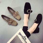 ピーズ靴 女 春秋 新しいデザイン アンティーク調 スクエアヘッド ローファー スエード