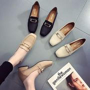 英国スタイル 靴 女 太いヒール 春 新しいデザイン 怠惰な ローファー スクエアヘッド