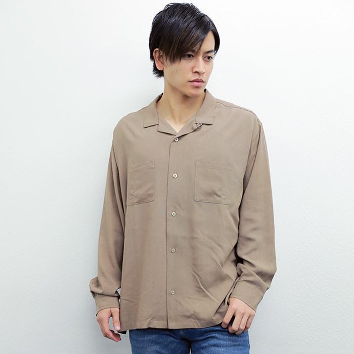レーヨン 長袖オープンカラーシャツ