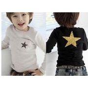 韓国子供服 キッズ 子供 星柄 シンプル 長袖ロンT 長袖Tシャツ 可愛い 男の子の服 上着