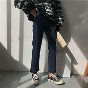 韓国風 単一色 何でも似合う 女性のジーンズ ルース ストレート バリ 不規則な パンツ