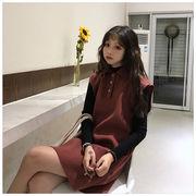 秋冬 新しいデザイン 韓国風 アンティーク調 シンプル ルース 着やせ ノースリーブ タ