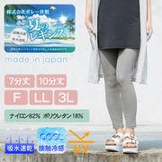 春夏 レギンス 日本製 千鳥 10分丈 7分丈 キュープ・ラテ 接触冷感 防透性 吸汗速乾 UVカット ボレー社製
