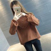 ニット 羽織り フリル スカラップ ボリューム袖 カットソー 純色 ゆったり 全5色 #708826
