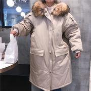 冬 新しいデザイン 女性服 大 毛皮の襟 帽子付き ルース 着やせ ロングスタイル 手厚