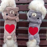 【5点から】犬服 ペット服 ペット用品 クマさん ハート XS-XL 2色 つなぎ フワフワ