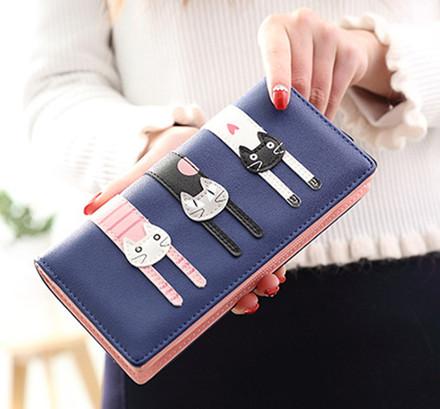 長財布 ネコ飾り 二つ折り長財布 ジッパー小銭入れあり 1枚写真入れ