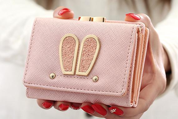 三つ折り財布 ま口財布 婦人 コンパクト ミニ財布 ウサギ耳 シンプル 普段使い