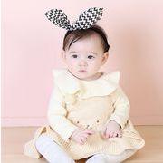 全2色★女の子 可愛い ベビー 刺繍 ニットワンピース★セーター サロペットワンピース キッズ 赤ちゃん