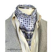 エレガント袋縫いプリント柄メンズ用100%シルクスカーフ 10104