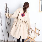 ダスターコート スプリングコート 刺繍コート ジッパー