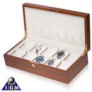 【販売後注文対応】 高級木材を贅沢に使用 IGIMI エルムバール木目調 時計10本用ケース