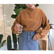 パーカー ボリューム袖 ハイネック ゆったり 無地 韓国風 プレッピースタイル 全2色 r3001895