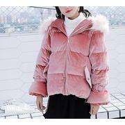 コート 無地 フード付き モコモコネック 毛襟 原宿系 ファッション 全2色 r3001925