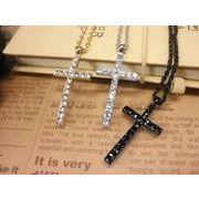 ラインストーンクロスネックレス・十字架