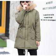 ダウンジャケット ドロスト レースアップ 無地 モコモコネック 毛襟 韓国風 ファッション 全5色 r3001928
