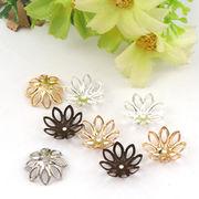 100個 花座 ビーズデコに 八葉 透かしフラワー 選べる5色 約15mm アレンジ 台座 金具 デコパーツ 質材 手芸