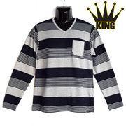 大きいサイズ【2018SS新作】マルチボーダープリント Vネック Tシャツ
