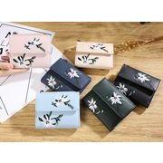【1点送料サービス】レディースミニ財布 6色 PU 財布 二つ折り カード入れ 普段使い 花柄 刺繍