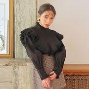 シャツ ブラウス シャーリング ハイネック フリル パフスリーブ ボリューム袖 純色 全2色 #709526
