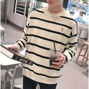 秋冬メンズセーター ニットトップス カジュアル ホワイト/ブラック2色