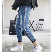 2018春新作メンズジーンズ デニムパンツ かっこいい破れファッション カジュアル/ブルー