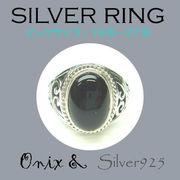 ビッグサイズ / 1091-2161 ◆ Silver925 シルバー リング 透かし オニキス