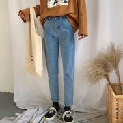 秋と冬 新しいデザイン 韓国風 カレッジ風 ハイウエスト カジュアルパンツ ストレートジ