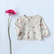 ★女の子 可愛い 花柄 ビッグカラーブラウス★長袖 トップス シャツ カジュアル キッズ 子供服