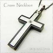 ステンレス ネックレス 十字架 クロス シルバー ブラック レディース メンズ アクセサリー