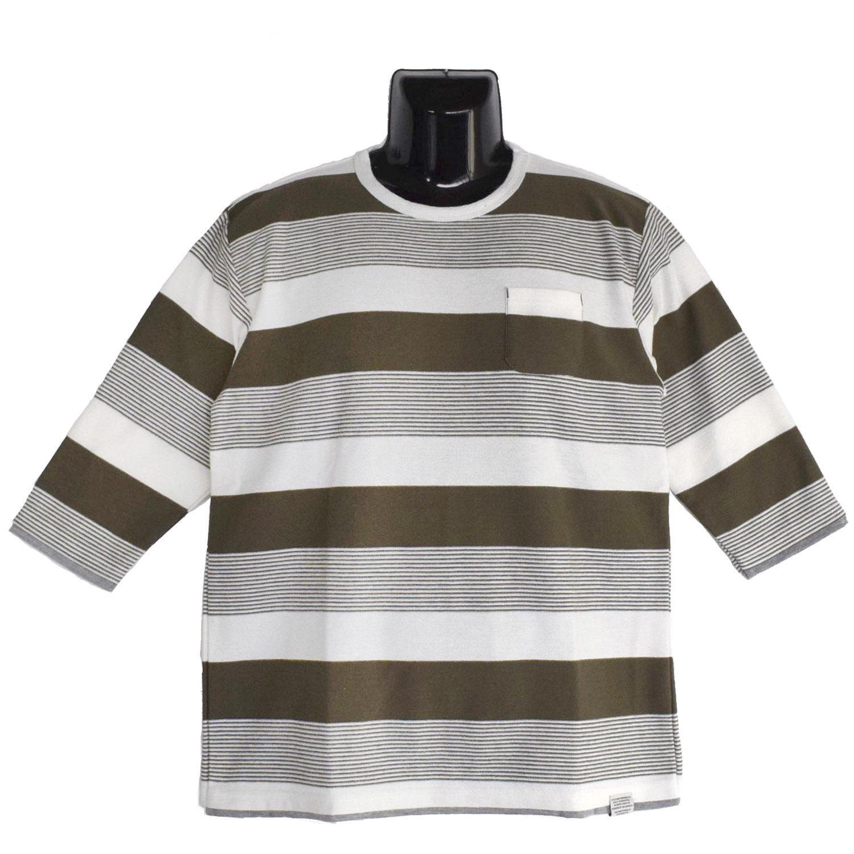 【2018SS新作】スラブタック天竺×天竺 編み変えボーダー 7分袖 フェイクレイヤード Tシャツ
