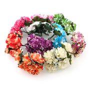 1束6輪 造花 牡丹 花のみ ダブルカラー 選べる10色 約3cm 花冠に 花束 結婚式 お祭 披露宴 出演 手芸材料