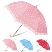 [45cm]傘 キッズ 子供用 女の子 フリル付 水玉(ドット)柄