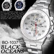 【選べるケース有or無♪】◇-BLACK OCEANS- 腕時計 シルバーメタル デザインクロノグラフ ◇BO-1037H