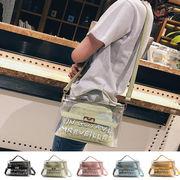 新作 手提げ透明バッグ ハンドバッグ ショルダーバッグ 英文字 ポーチ有り クリアバッグ トレンド 鞄