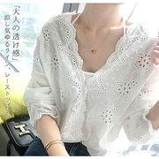 【即配】春 夏 スカラップシャツ パンチングシャツ 7分丈 ブラウス レディース ◆メール便対応可◆