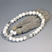 いざという時の必需品・ハウ石の数珠 ホワイトハウライト 女性用