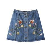 刺繍デニムスカート ミニデニムスカート 花柄
