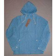 インド綿シャツ生地 ドットプリント ジップパーカー 袖ロールアップ仕様