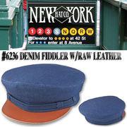 NEWYORK HAT #6236 Denim Fiddler w/Raw Leather 15702