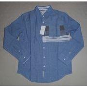 インド綿シャツ生地 3スイッチング デザインシャツ