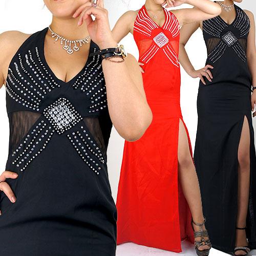 シフォン胸元キラキラ ウエストシースルー ロングドレス
