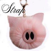 BLHW155909◆5000以上【送料無料】◆【10cmポンポン】豚モチーフ バッグチャーム ストラップ