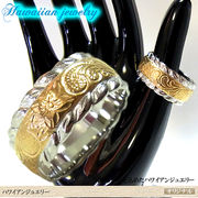 ハワイアンジュエリーステンレスリング 指輪 イエローゴールド ピンクゴールド マリッジ 結婚指輪