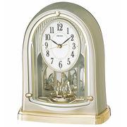 SEIKO セイコー 置き時計 電波 アナログ 回転飾り 薄金色パール BY241G