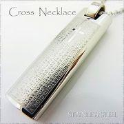 ステンレス ネックレス プレート ライター型 クロス シルバー レディース メンズ アクセサリー